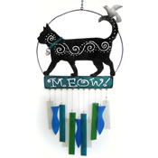Gift Essentials Glass Kittie Wind Chime - Meow