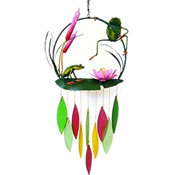 Gift Essentials Glass Frogs & Cattails Wind Chime