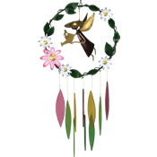 Gift Essentials Glass Garden Angel w/Large Flowers Wind Chime