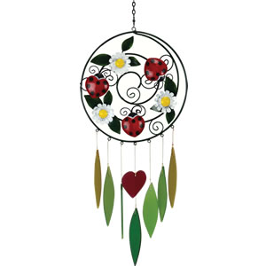 Gift Essentials Glass Ladybug & Daisies Wind Chime