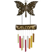 Gift Essentials Glass Rustic Welcome Butterfly Wind Chime