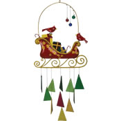 Gift Essentials Glass Cardinals & Ornaments on a Sleigh Wind Chime
