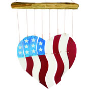 Gift Essentials Glass Red White & Blue Heart Wind Chime - Americana