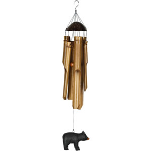 Woodstock Half Coconut Bamboo Bear Windchime - Medium